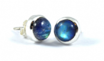 Large round Rainbow Moonstone Earrings Silver Stud